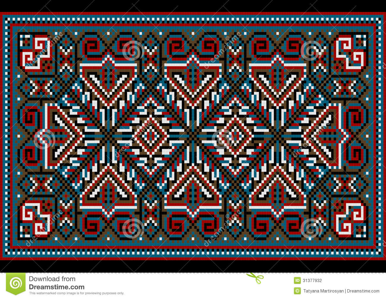 Design For Variegated Carpet With Burgundy Blue Shades And Decorative Details The Frame