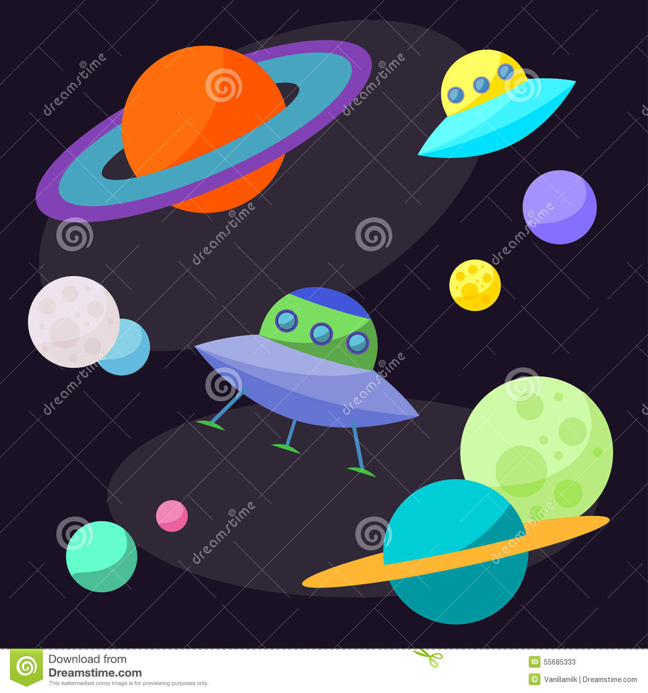 Set planets solar system cartoon style flat icon stock vector image - Space Exploration Banner Vector Illustration
