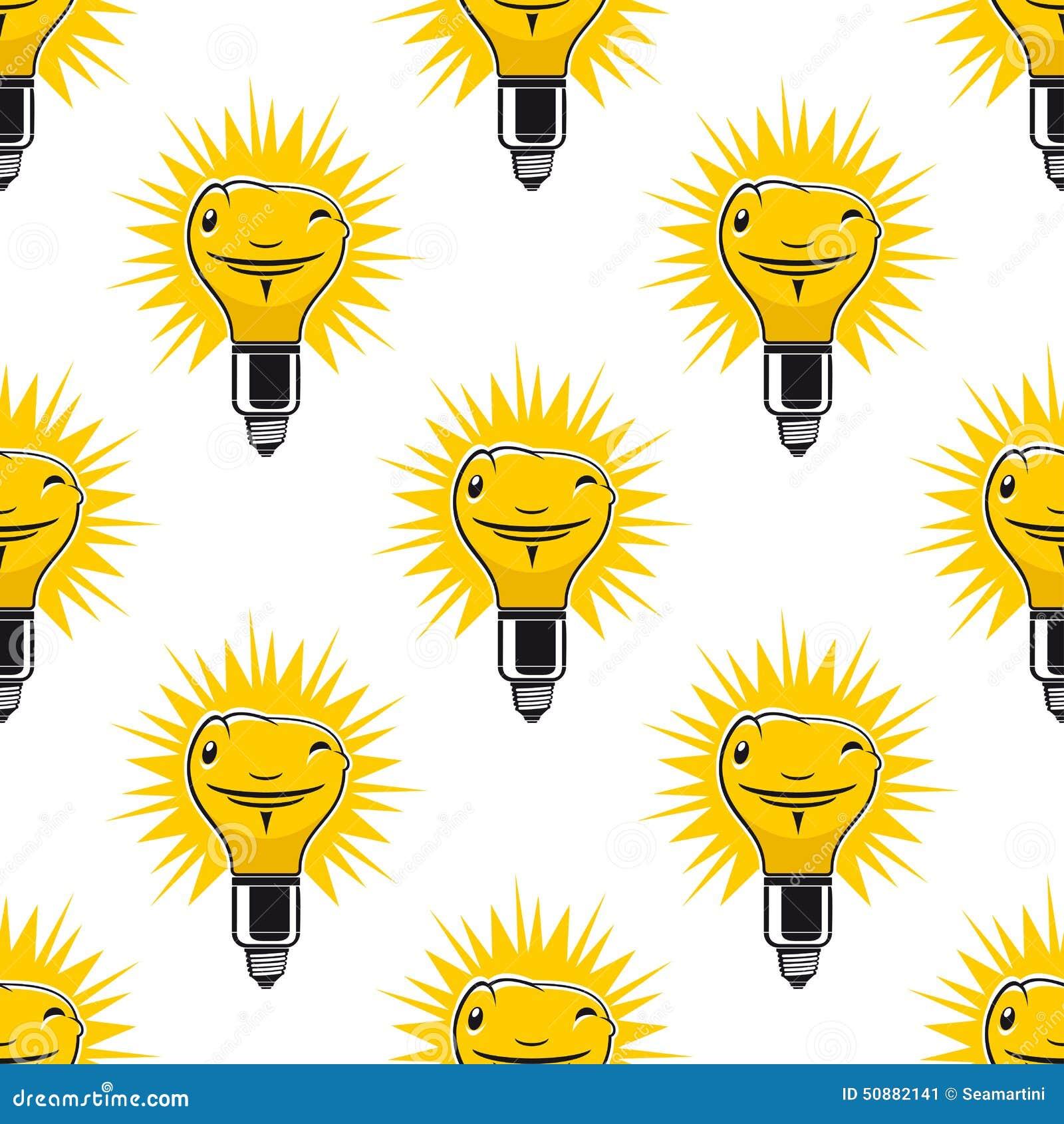 Light Bulb Wallpaper: Bright Cartoon Light Bulbs Seamless Pattern Stock Vector