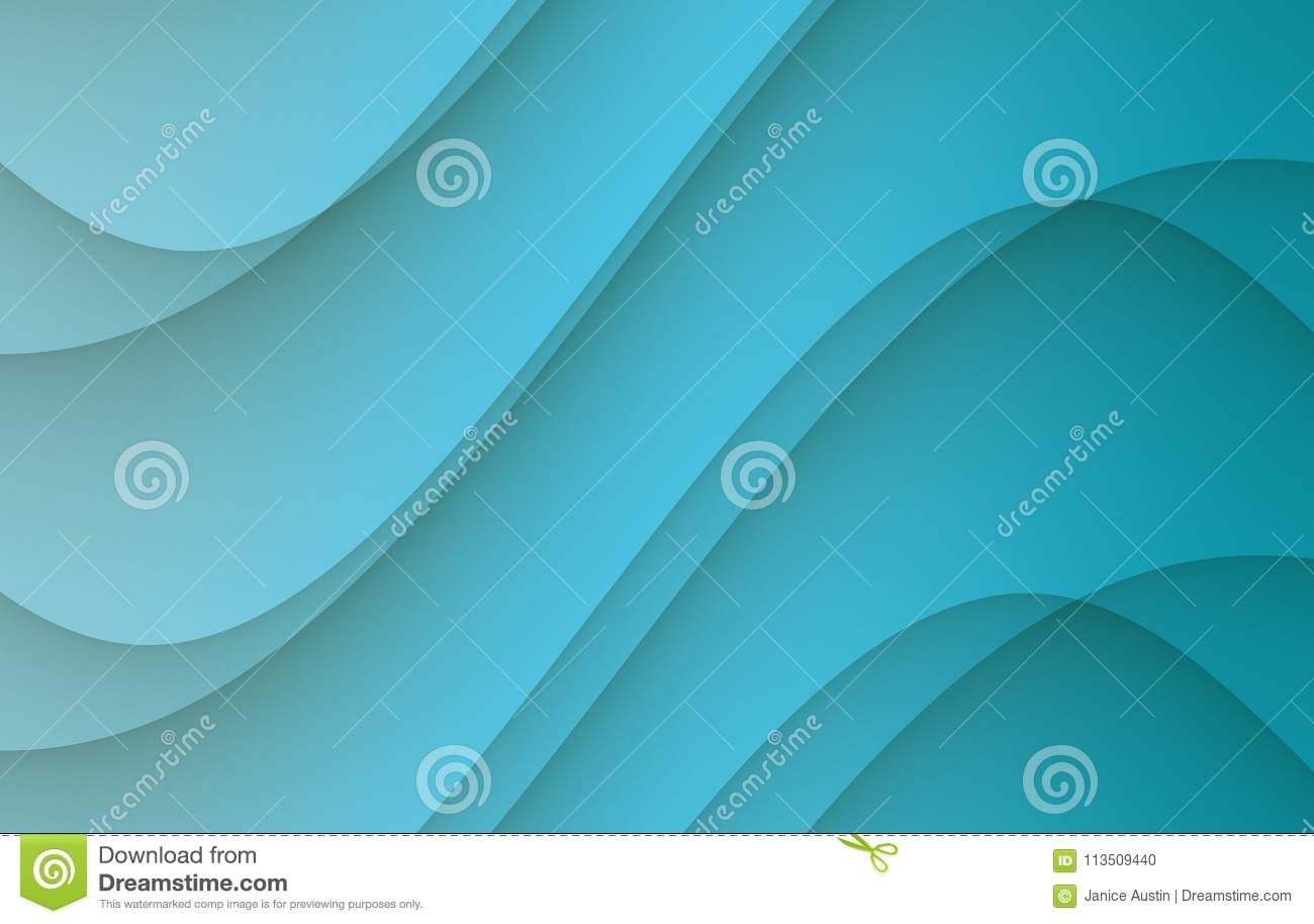 Bright cerulean blue soft flowing smooth curves abstract background illustration
