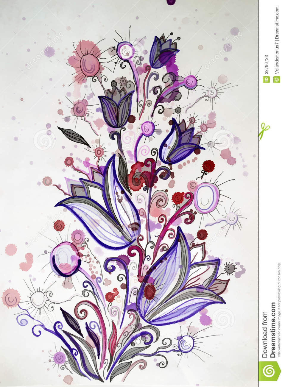Bright Cheerful Pattern Bouquet Of Flowers Stock