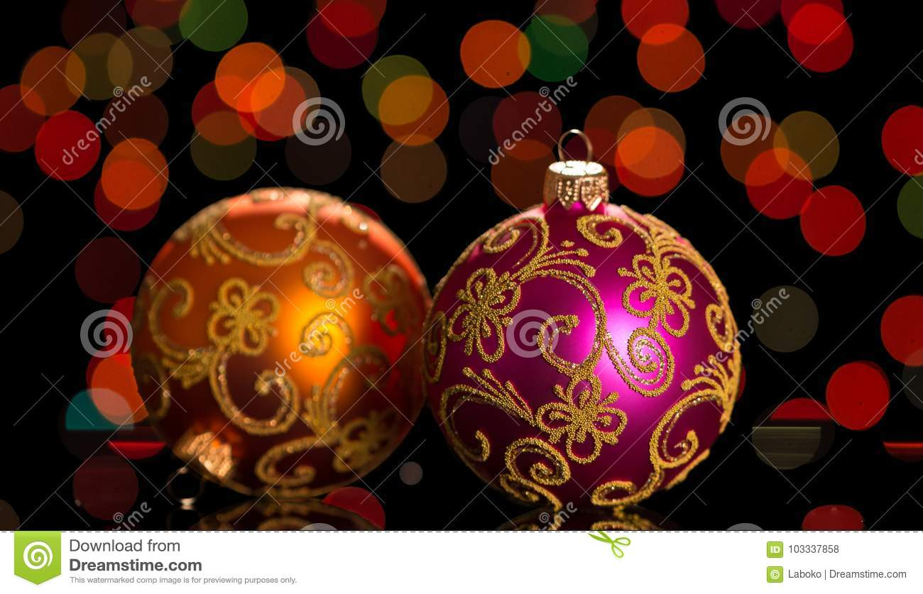 Bright Christmas Balls On The Background Lights Garland