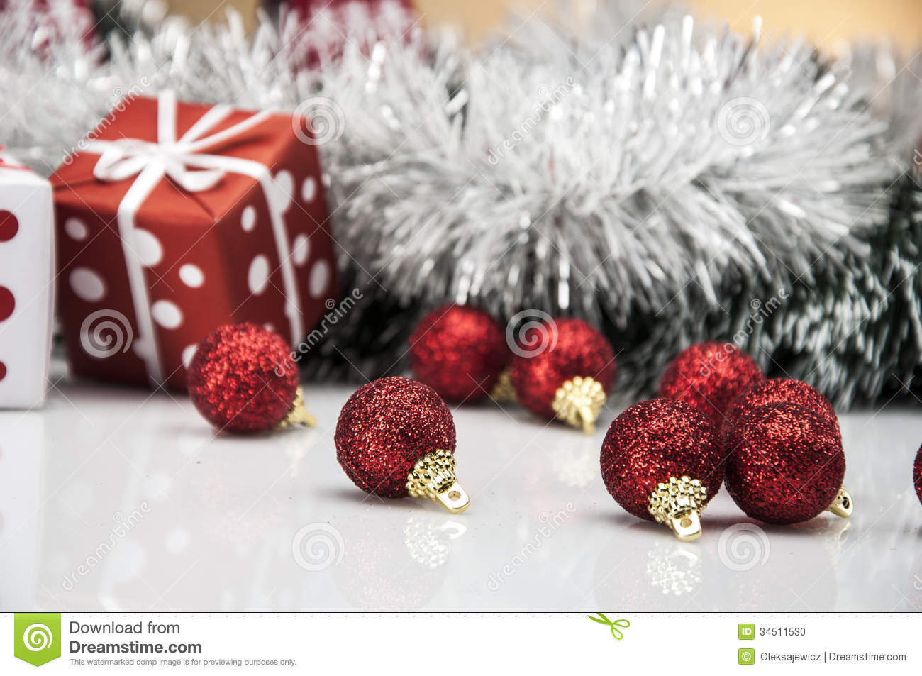 Bright christmas decorations with christmas stuff stock for Christmas decoration stuff