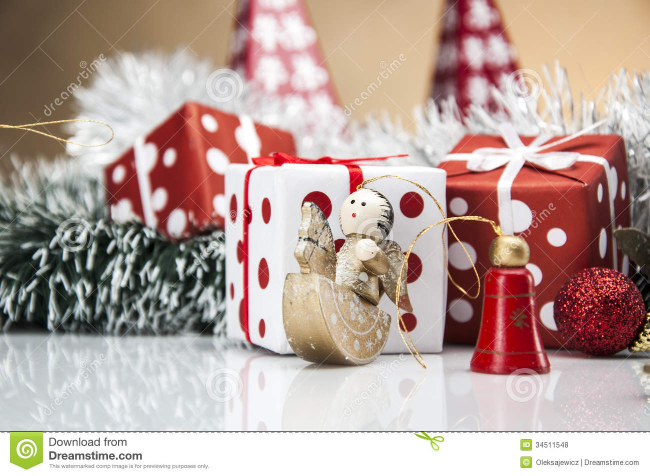 Bright christmas decorations with christmas stuff royalty for Christmas decoration stuff