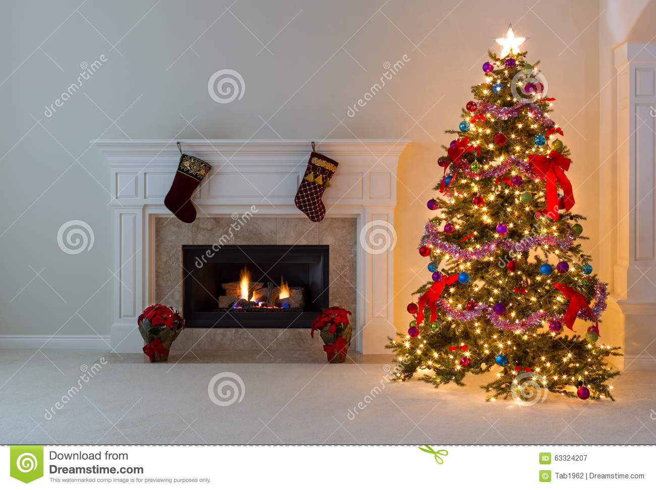 Bright Christmas Tree With Burning Fireplace Stock Photo