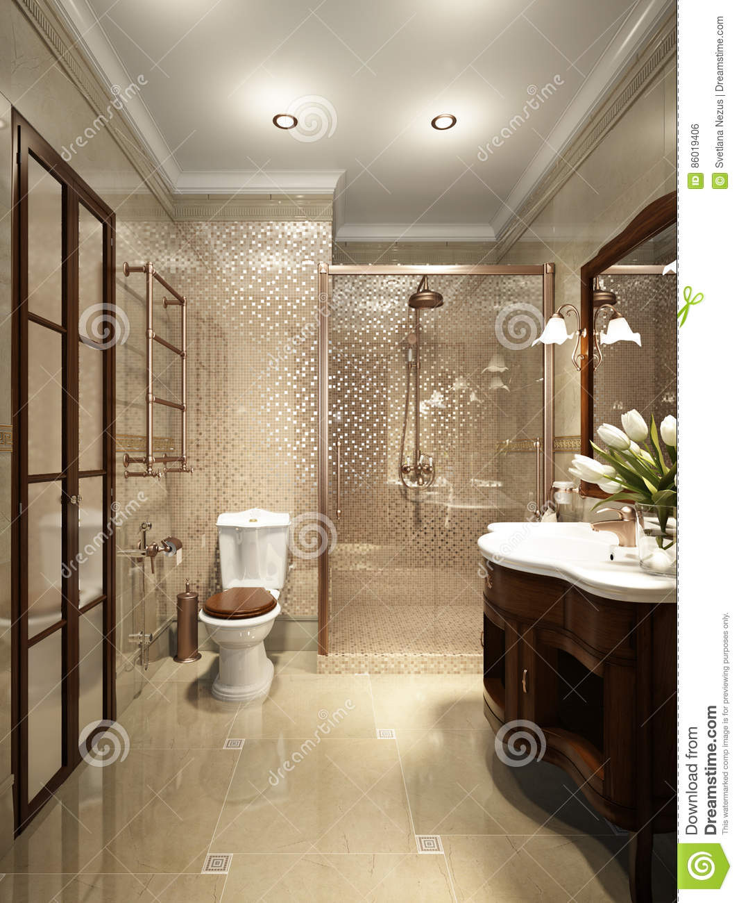 Luxury Home Interior Design Restroom: Bright Classic Traditional Laundry Room And Bathroom