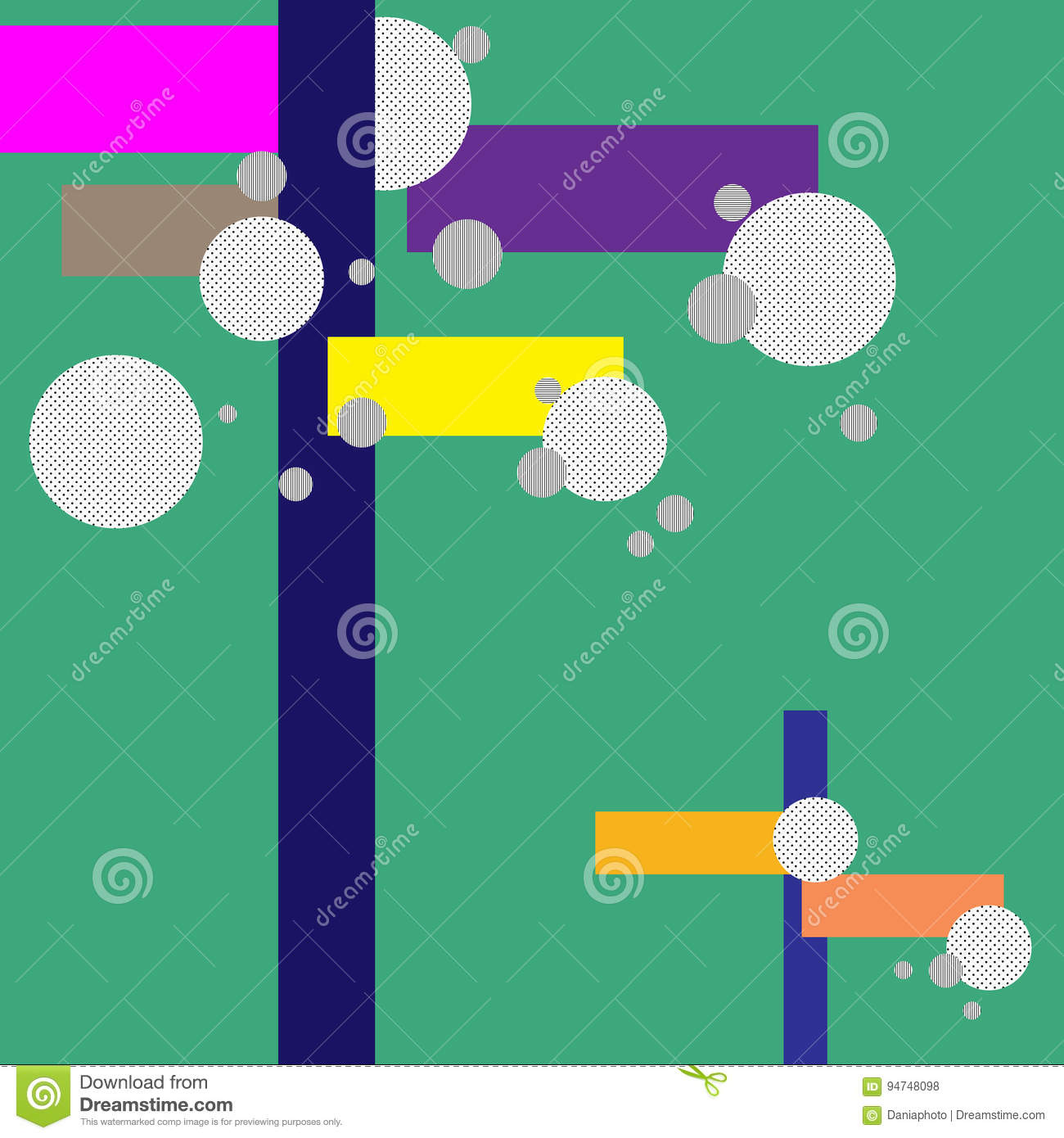 Bright Color Line and Circle Background