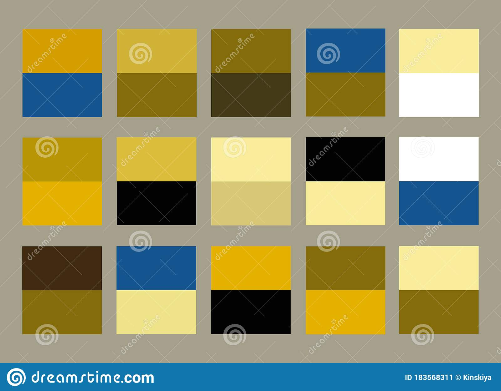 Bright Color Palette Guide Golden Yellow Blue And Beige Cream Color Palettes Scheme Set Packaging Design Stock Vector Illustration Of Guide Cream 183568311