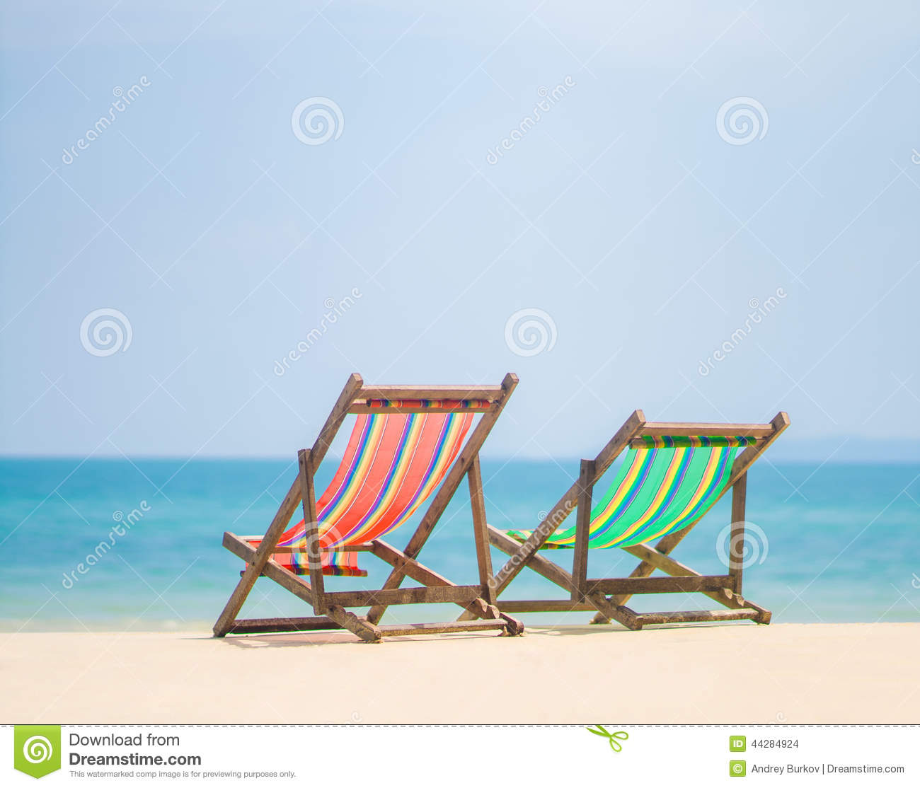Tropical Beach Chairs Bright Color Wo...