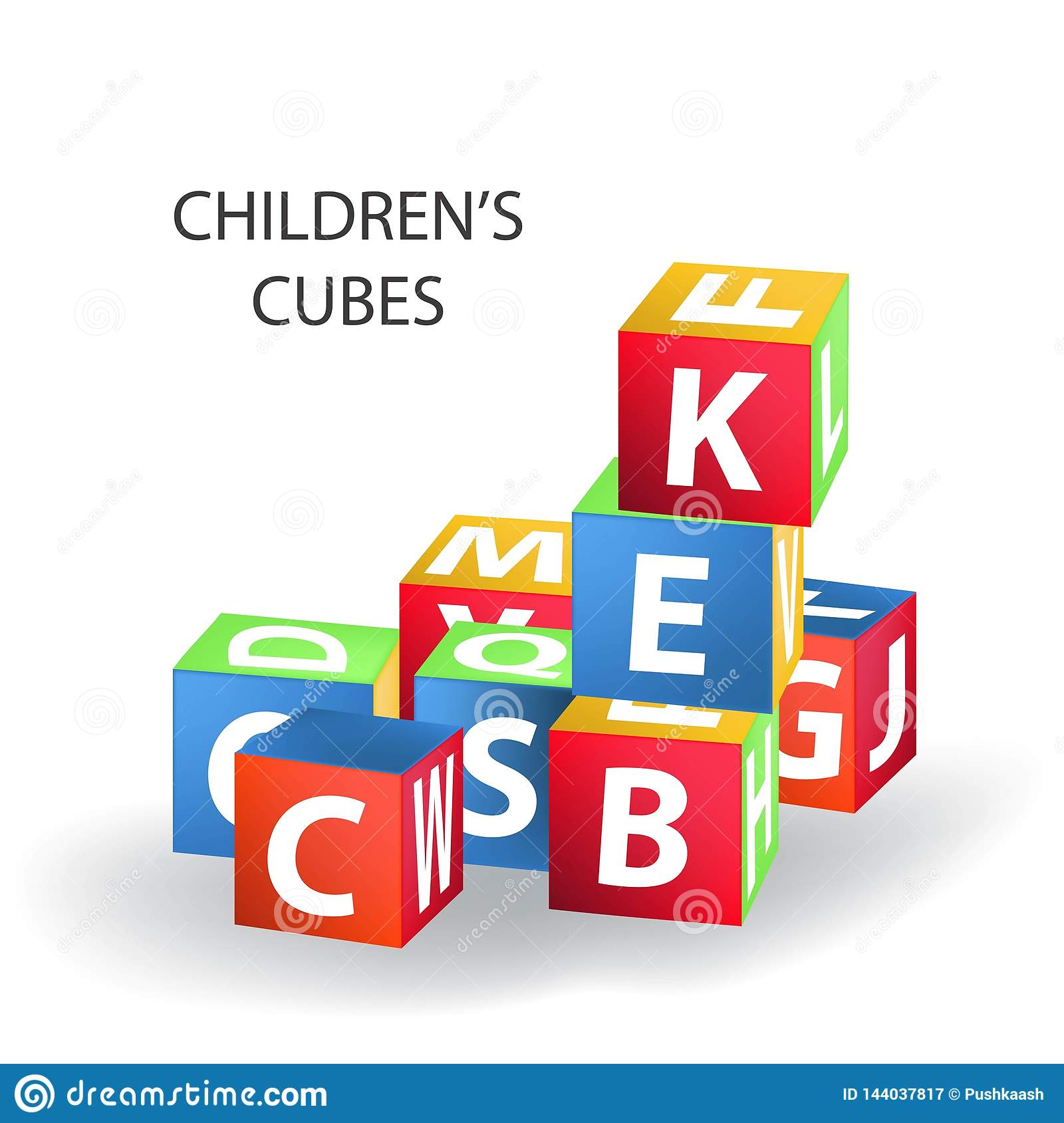 Bright colored bricks building tower. Block vector illustration on white background. Cubes with letters