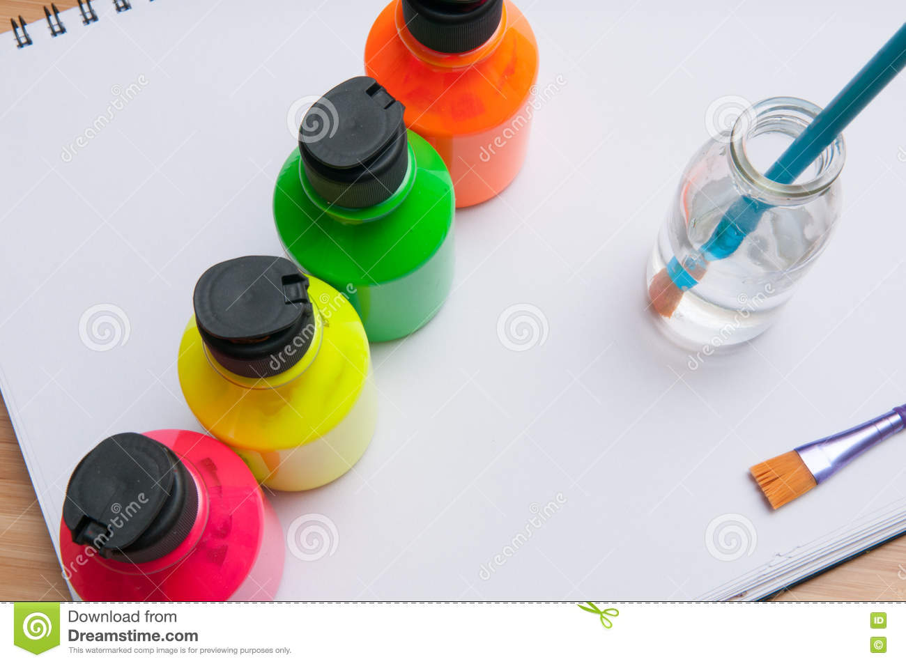 Bright Colored Paint Pots With Paint Brush For Childrens Art Act ...