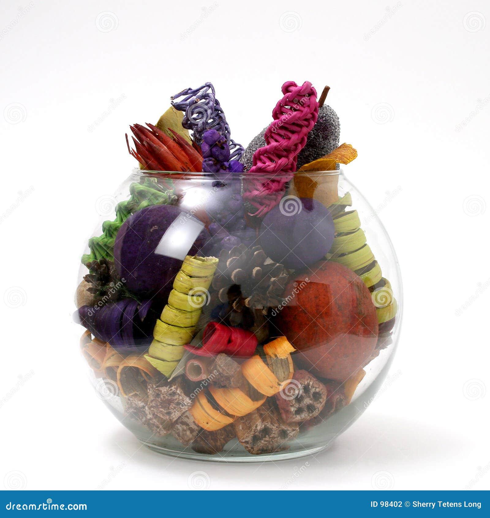 Bright Colored Potpourri In Clear Bowl