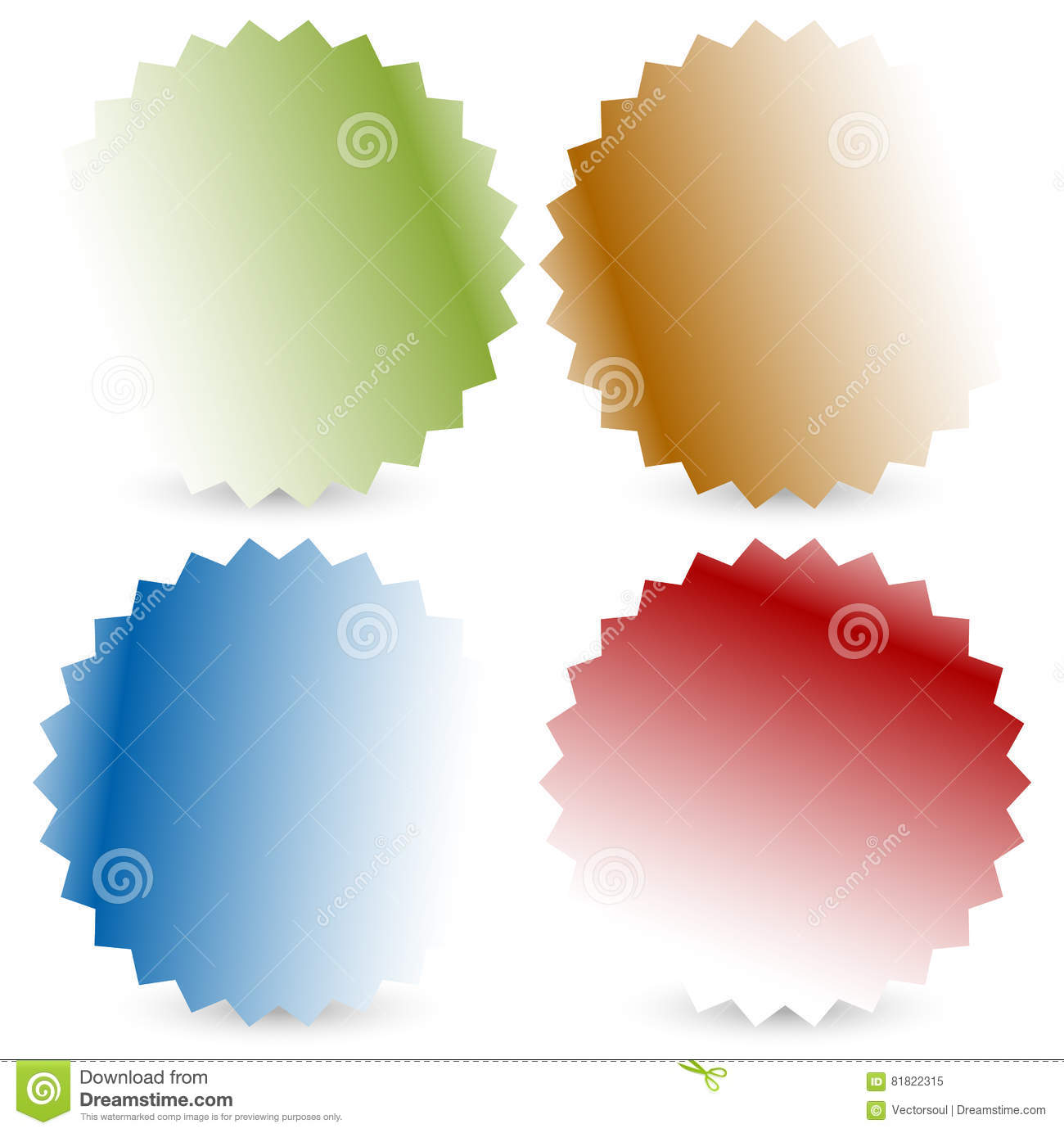 Bright Colorful Button, Badge Shapes With Shadow Stock Vector