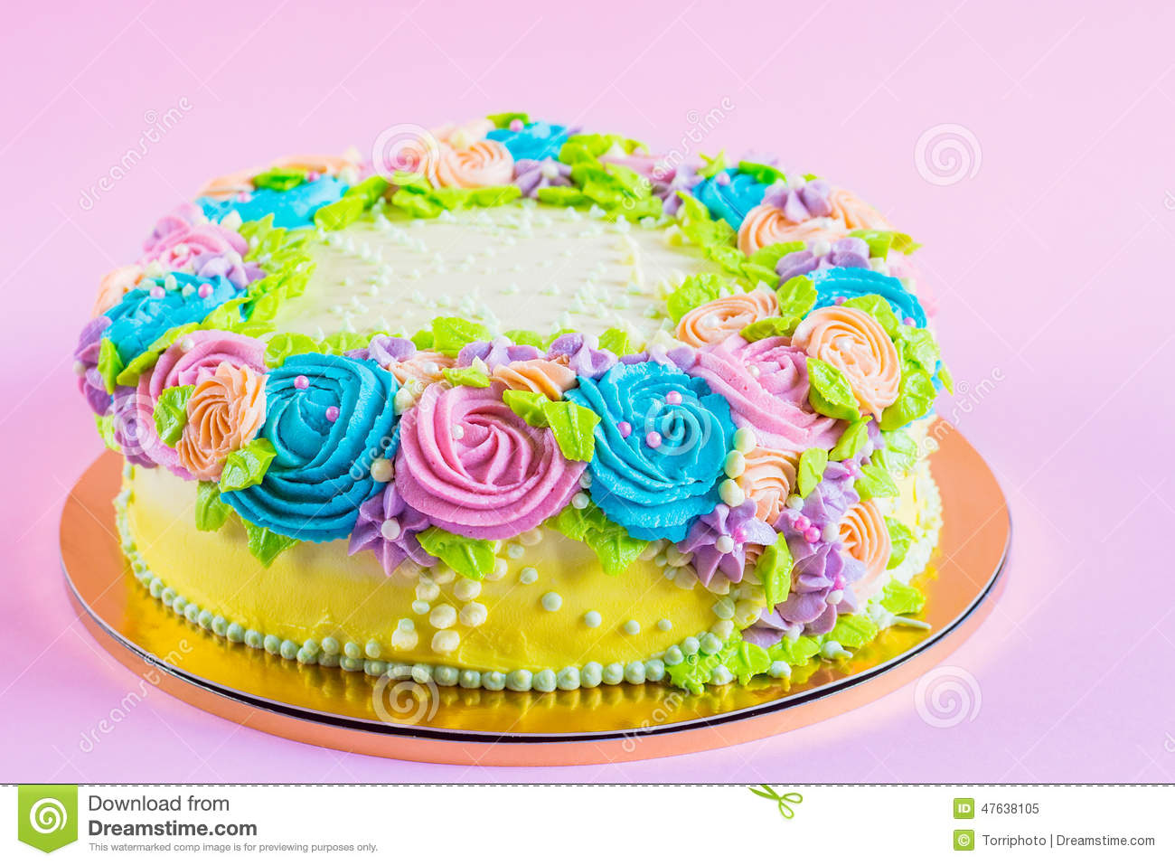 Bright Colorful Cake Decorated With Cream Flowers Stock