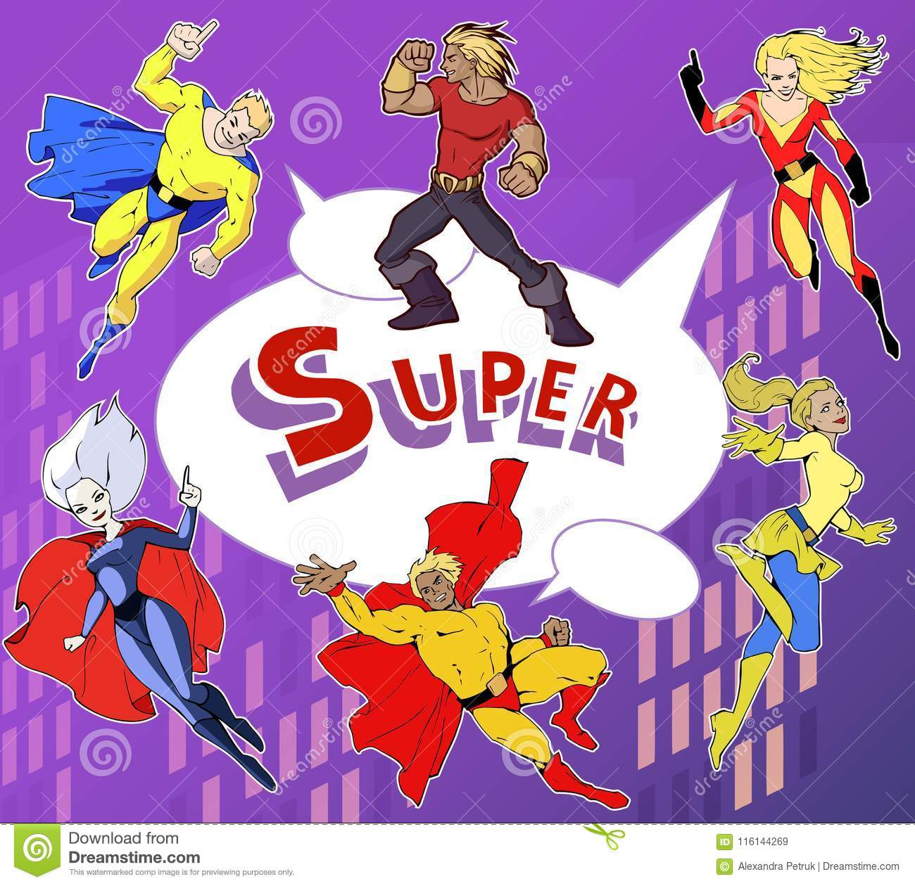 Amazing Team: Bright And Colorful Cartoon Set Of Funny And Awesome Team