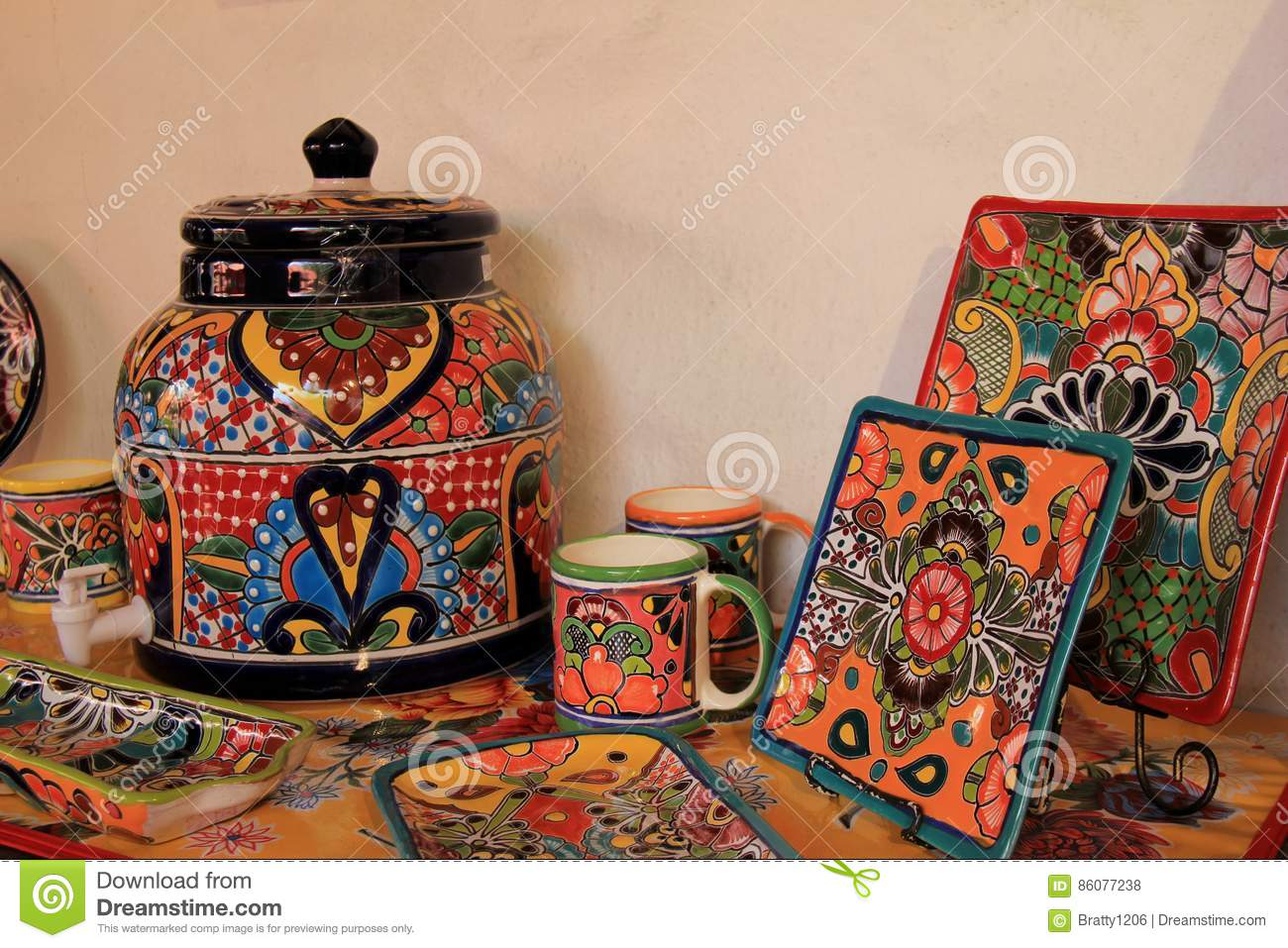 Bright And Colorful Ceramic Tiles, Cups, Trays And Canisters ...