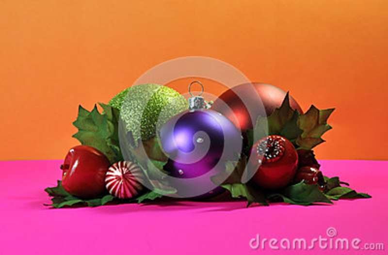 bright and colorful christmas bauble decorations