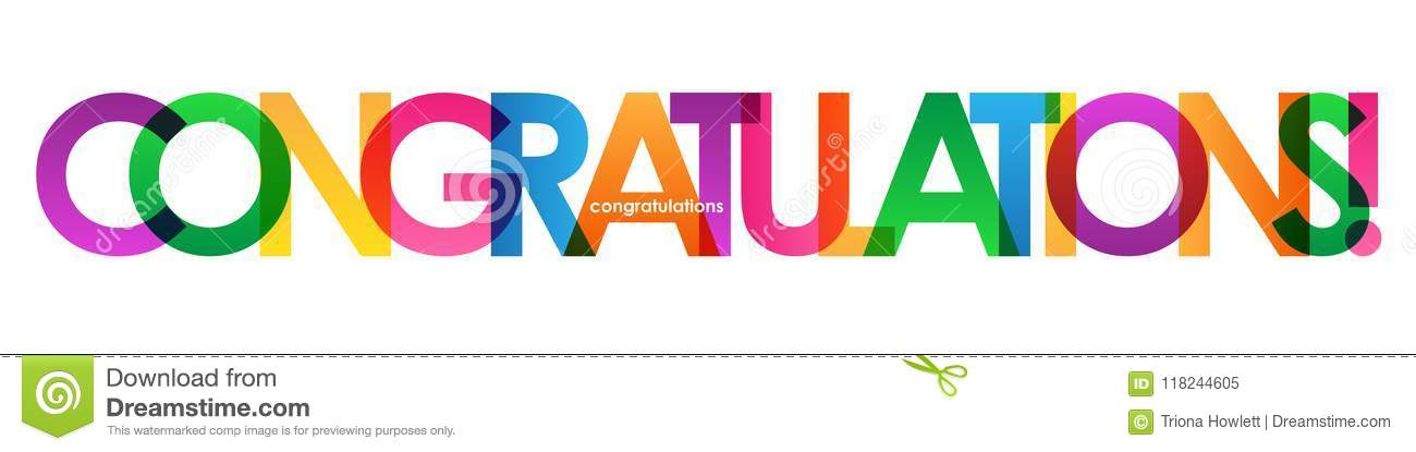 congratulations colorful overlapping letters banner stock