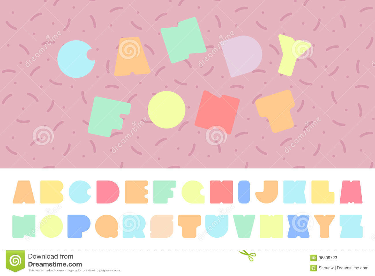 Bright Colorful Font. Funny English Alphabet. Candy Letters. Stock ...