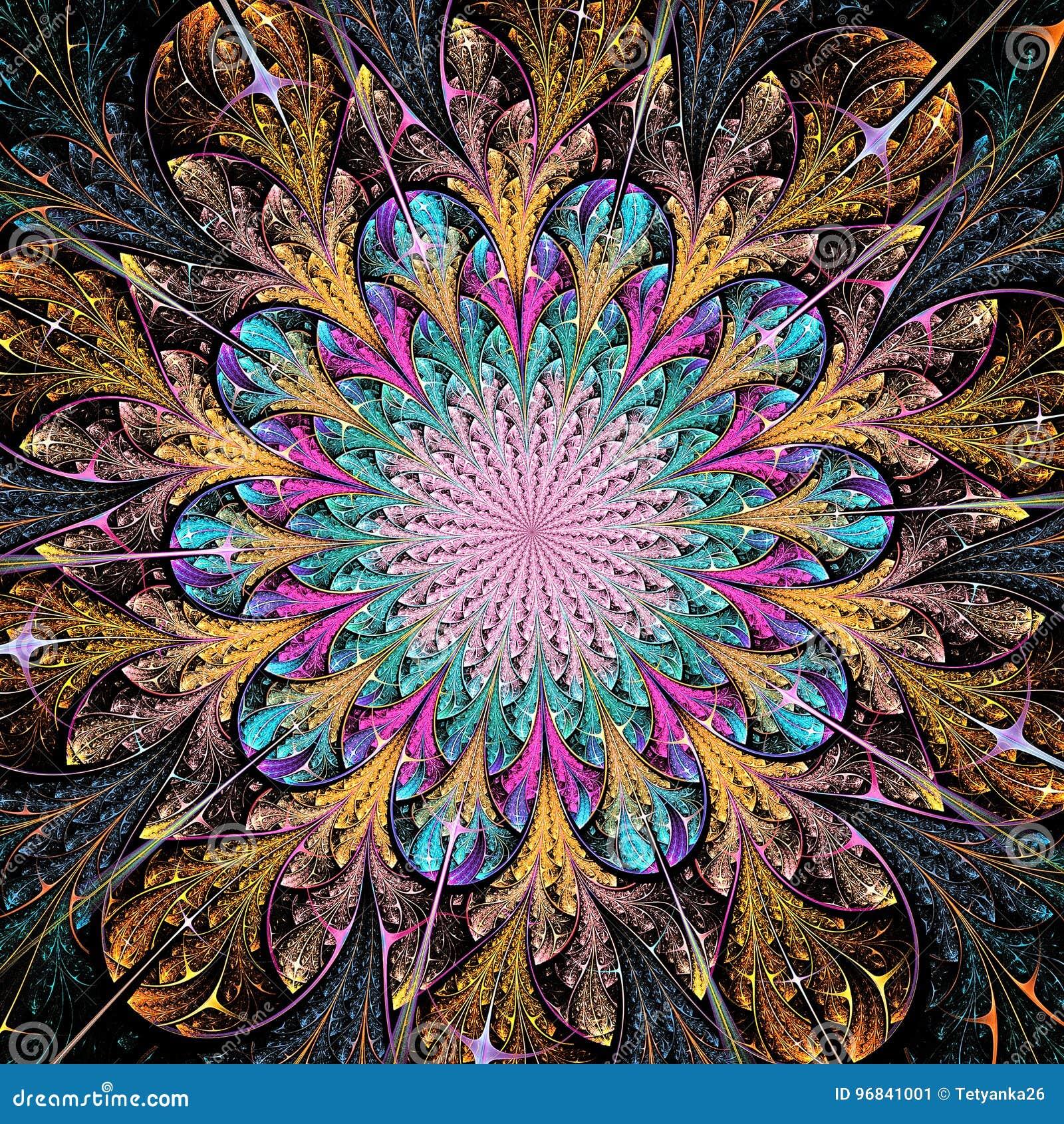 Bright colorful fractal flower