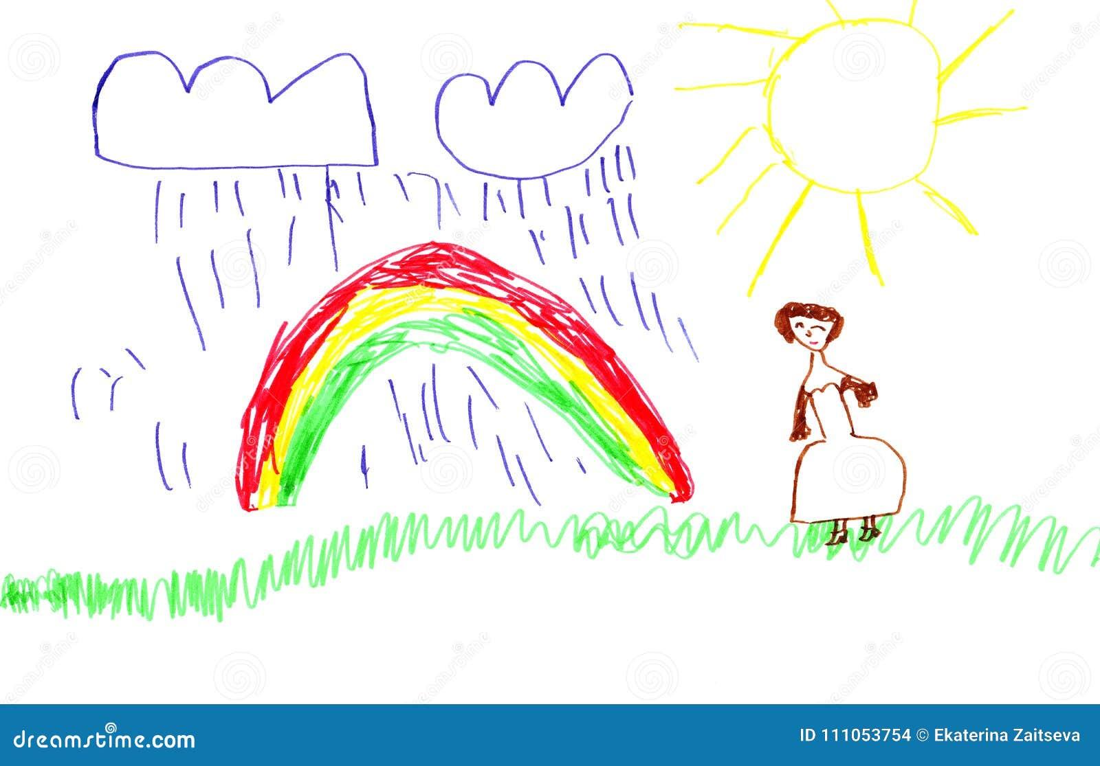 Bright Colorful Marker Handdrawn Child Rainbow Picture Stock