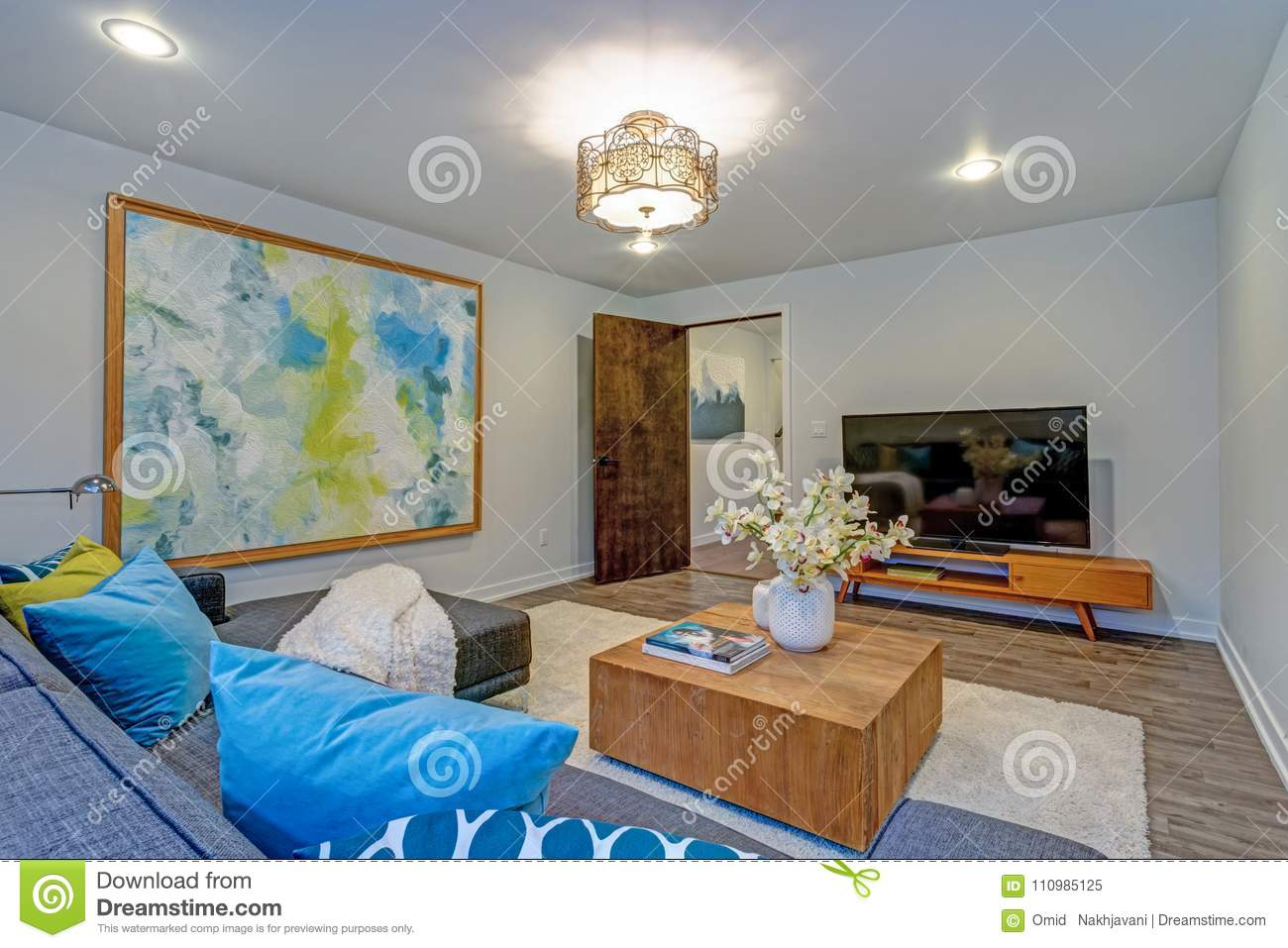Bright Colorful Modern Family Room Interior With Wood ...