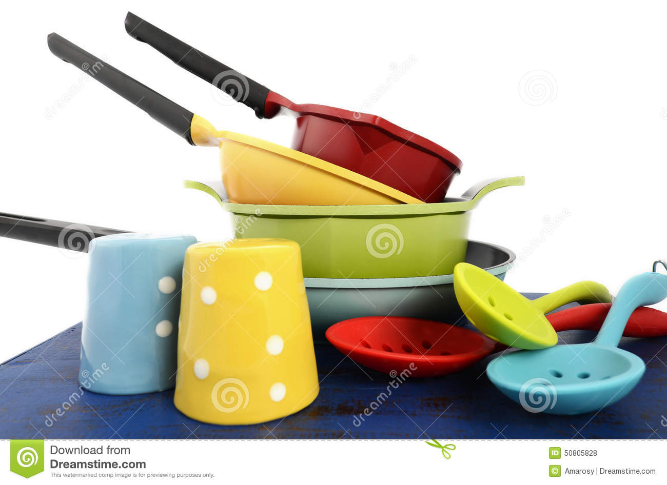 Bright Colorful Modern Kitchen Pot And Pans Stock Photo