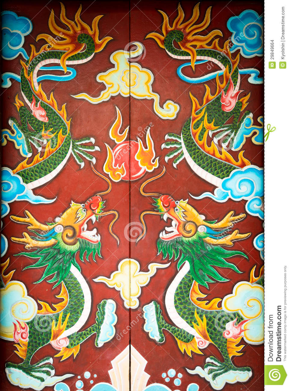 Royalty-Free Stock Photo & Colorful Door With Symmetrical Dragon Painting. Stock Photo ... pezcame.com