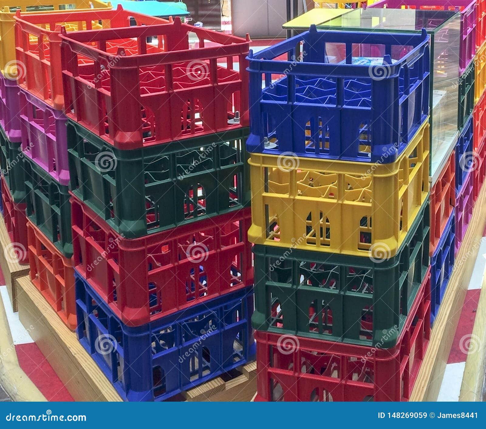 Bright colorful plastic boxes.