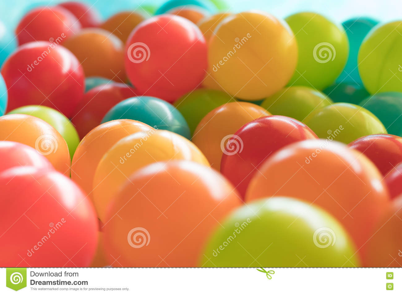 Bright and Colorful plastic toy balls, ball pit, close up