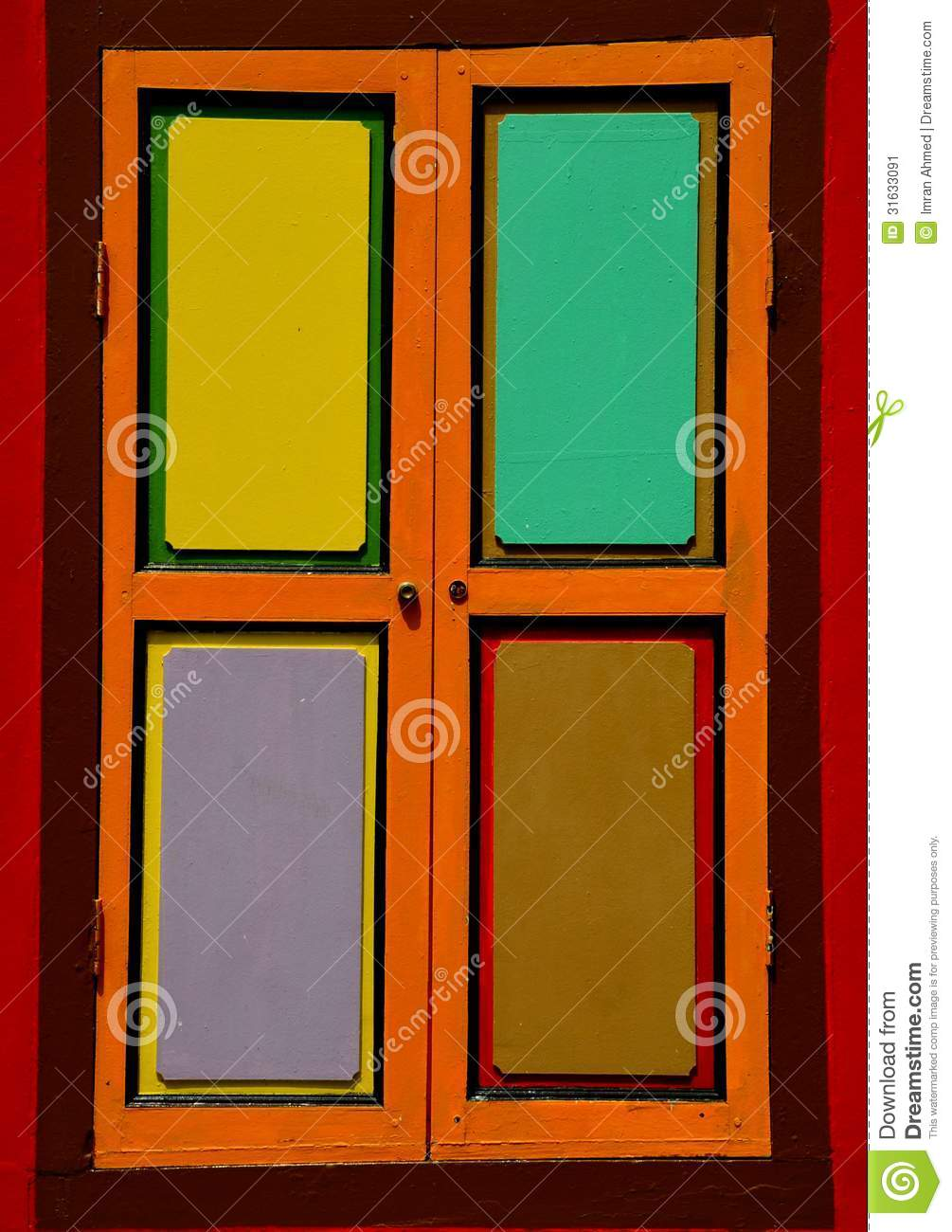 Bright colorful window shutters with four panels stock for Window design 4 by 4