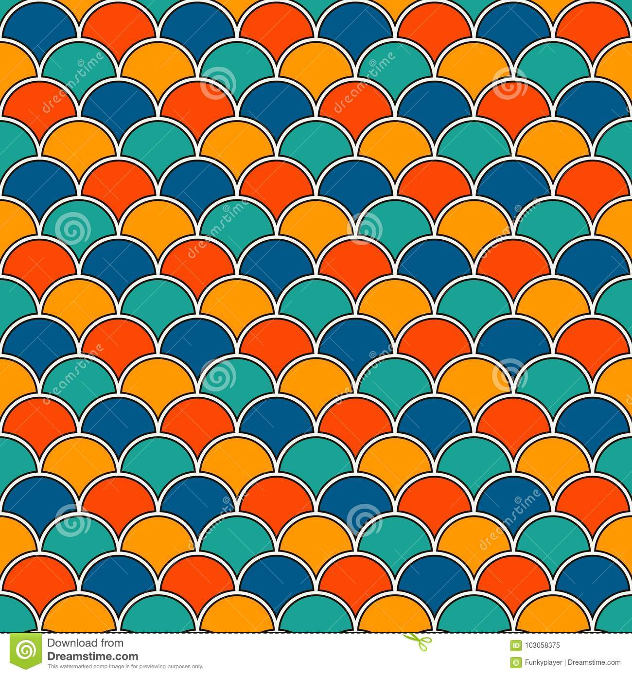 Asian traditional ornament with repeated scallops. Seamless pattern with  vivid semicircles.