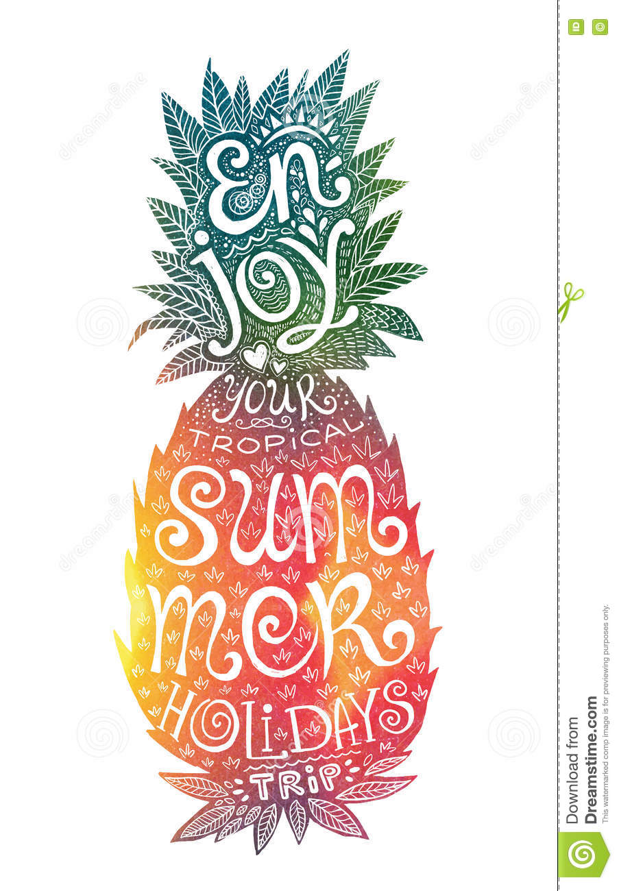 Bright Colors Hand Drawn Watercolor Pineapple Silhouette ...