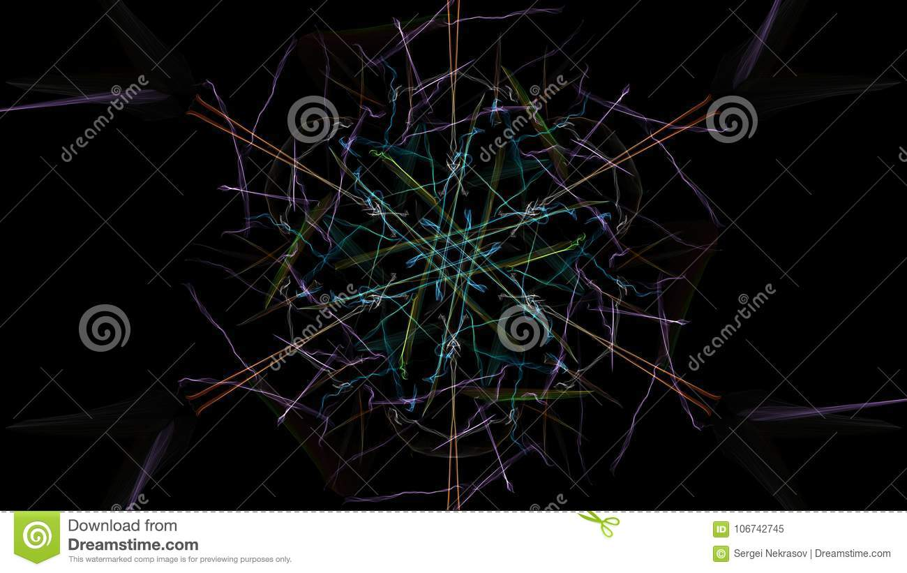 The bright colors of the lines on black background.