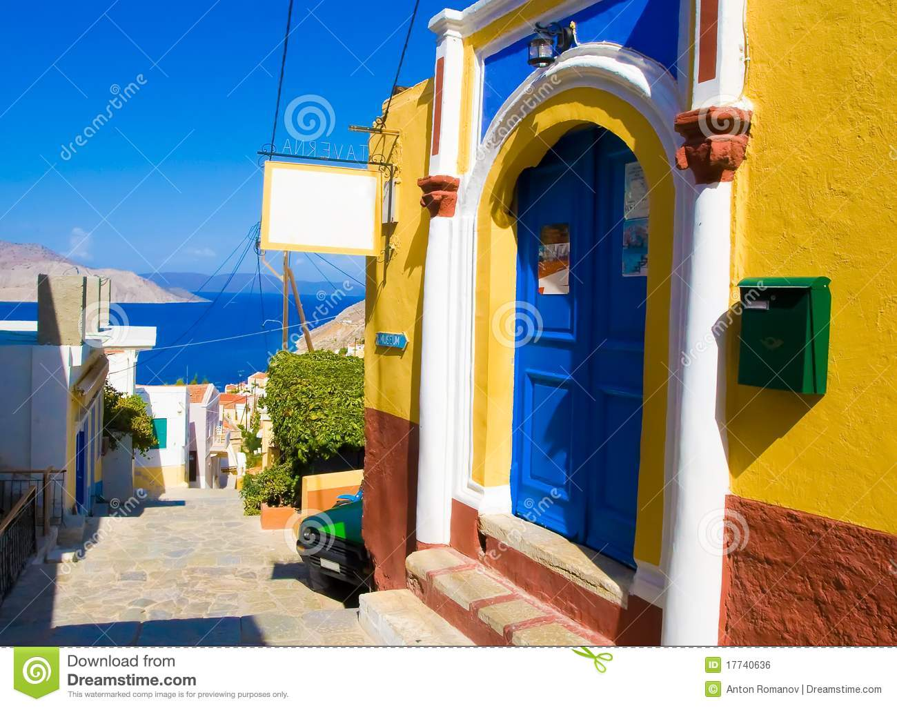 Bright Colors Of The Walls Of Houses Ancient Greek Stock