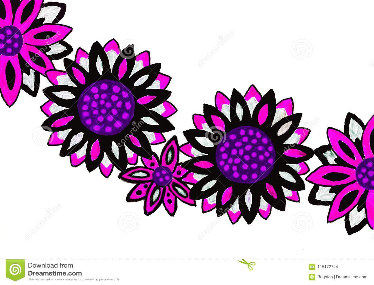 Bright Coloured Drawing Of Flowers Stock Illustration