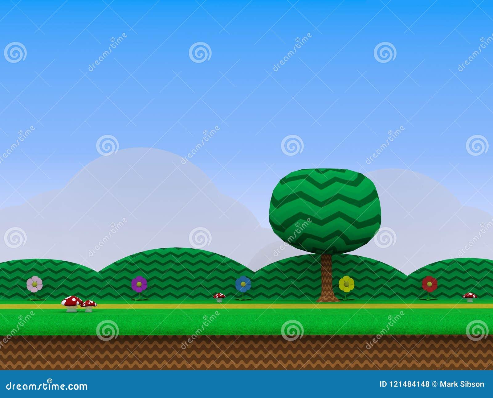 Platform Video Game Background 3d Illustration Stock