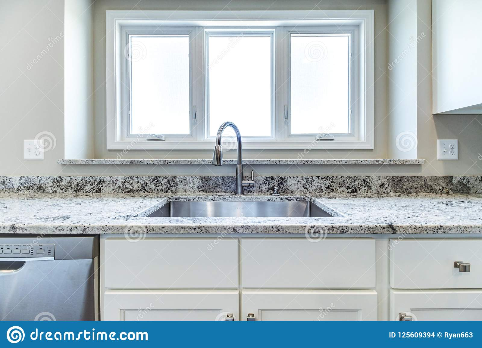 Bright And Contemporary Kitchen Sink Stock Photo Image Of Nice Windows 125609394