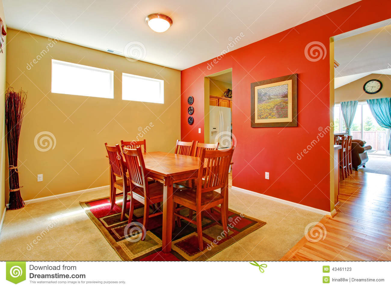 Bright contrast dining room interior stock photo image 43461123 - Home interior wall color contrast ...