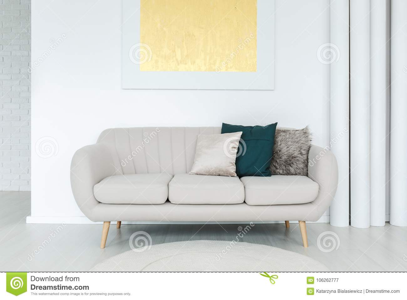 Cool Bright Couch With Pillows Stock Image Image Of Home 106262777 Unemploymentrelief Wooden Chair Designs For Living Room Unemploymentrelieforg