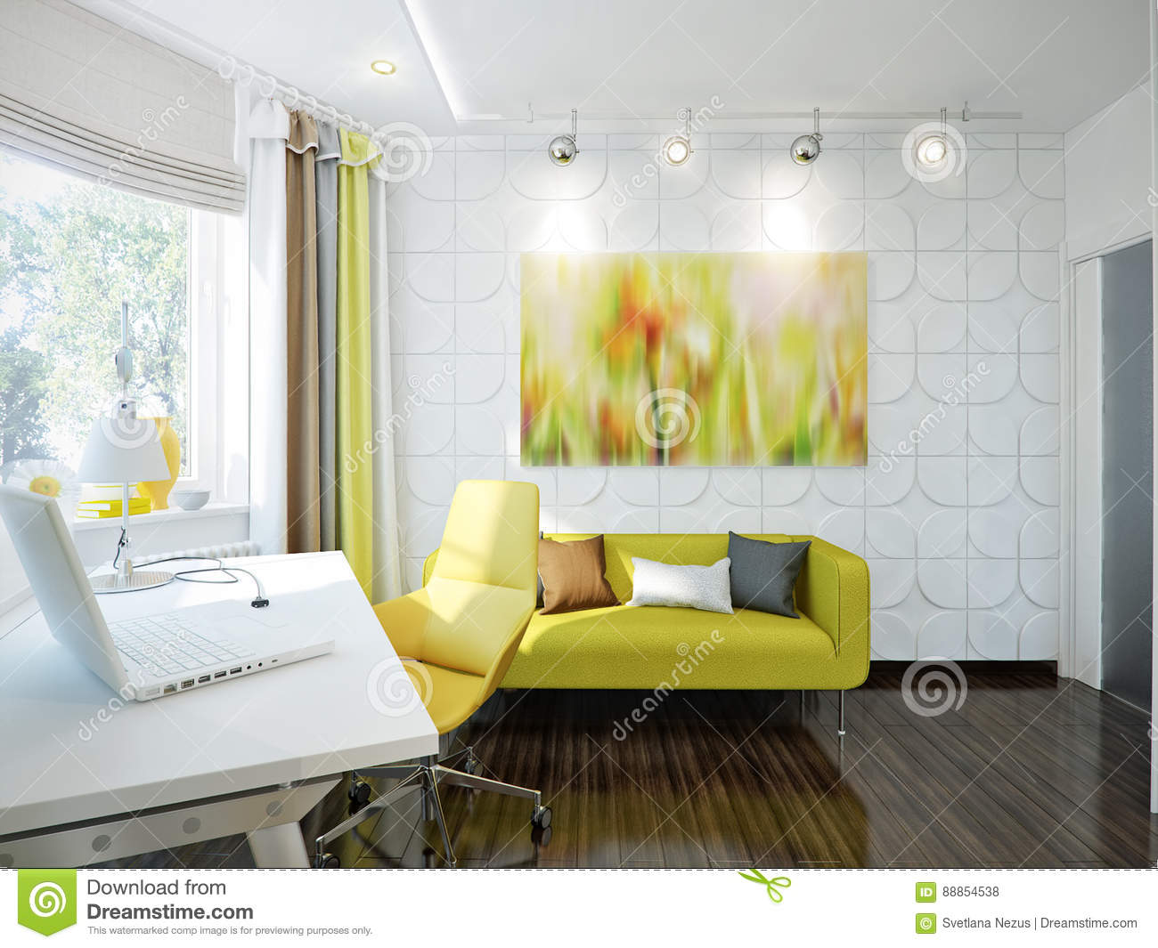 Bright And Cozy Room In Modern Style Stock Illustration