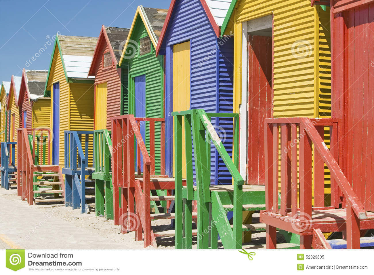 Bright Crayon-Colored Beach Huts at St James, False Bay on Indian Ocean, outside of Cape Town, South Africa