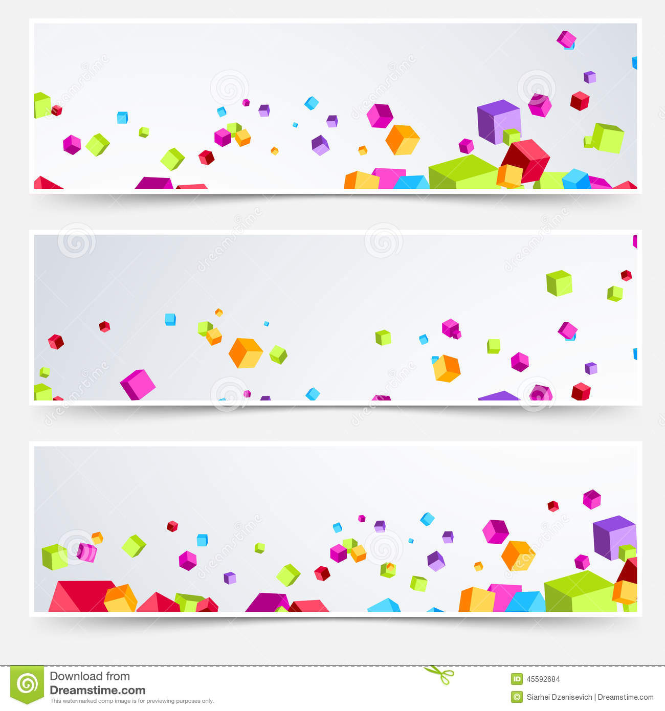 Geometry Designs Bright Cube Web Header Footer Set Stock Vector Image