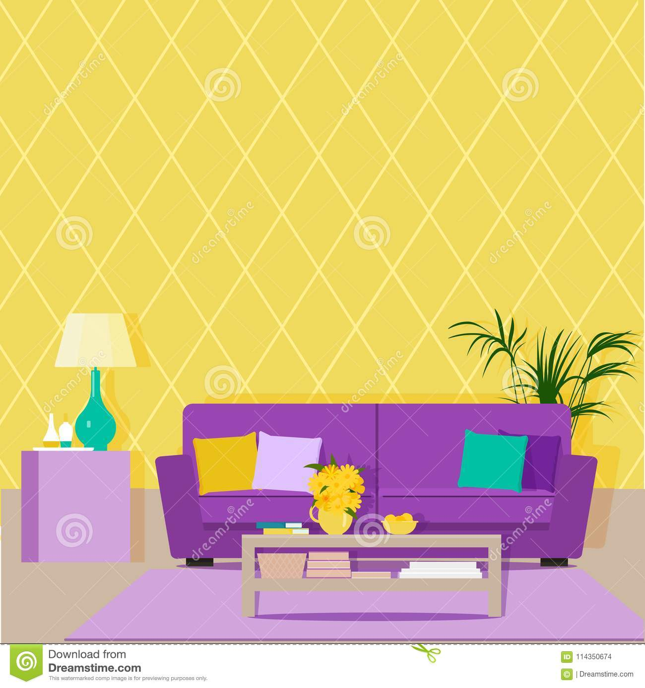 Bright Design Of The Living Room With Yellow Wallpaper And ...