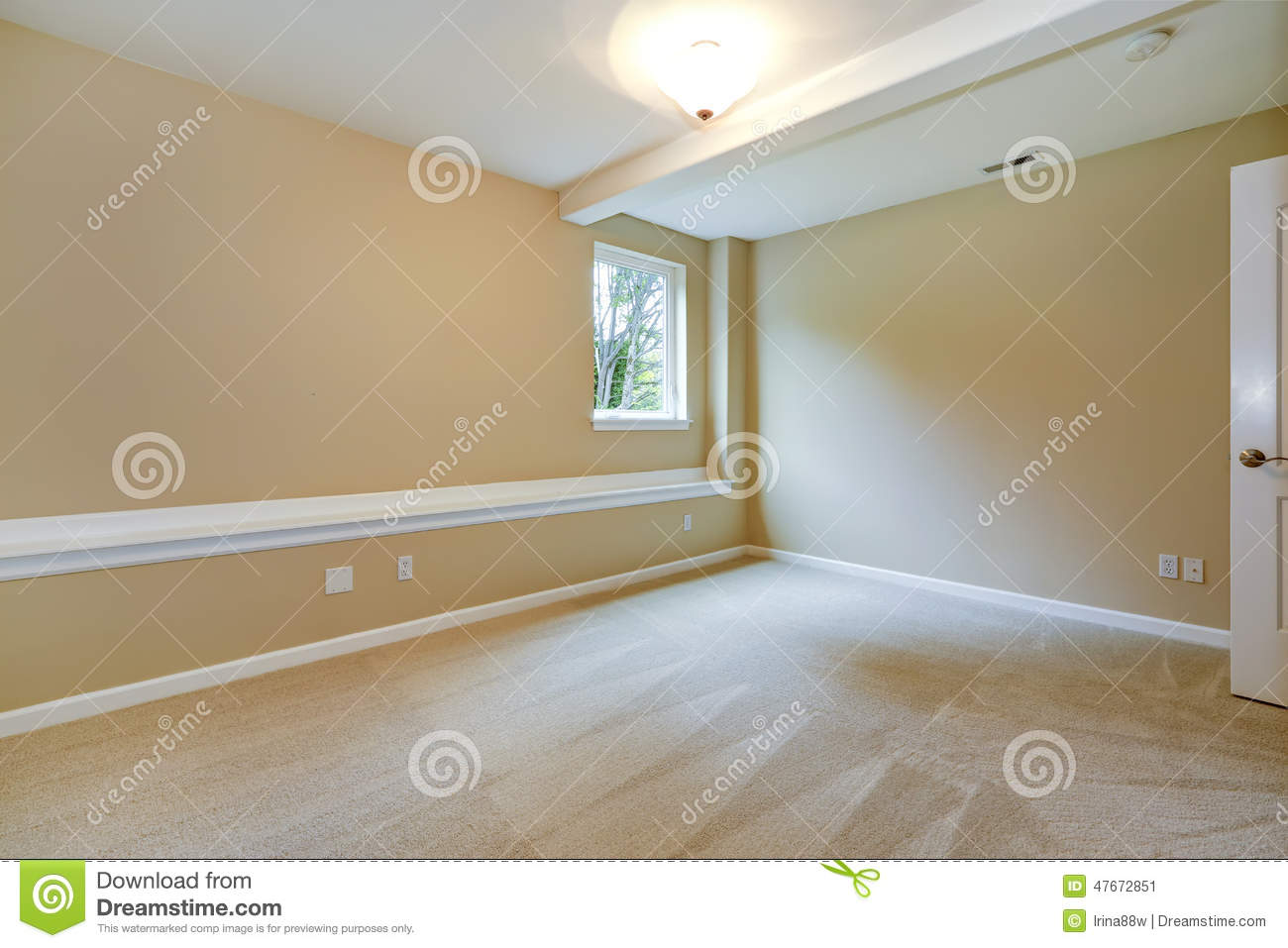 Bright Empty Bedroom In Light Ivory Tone Stock Image