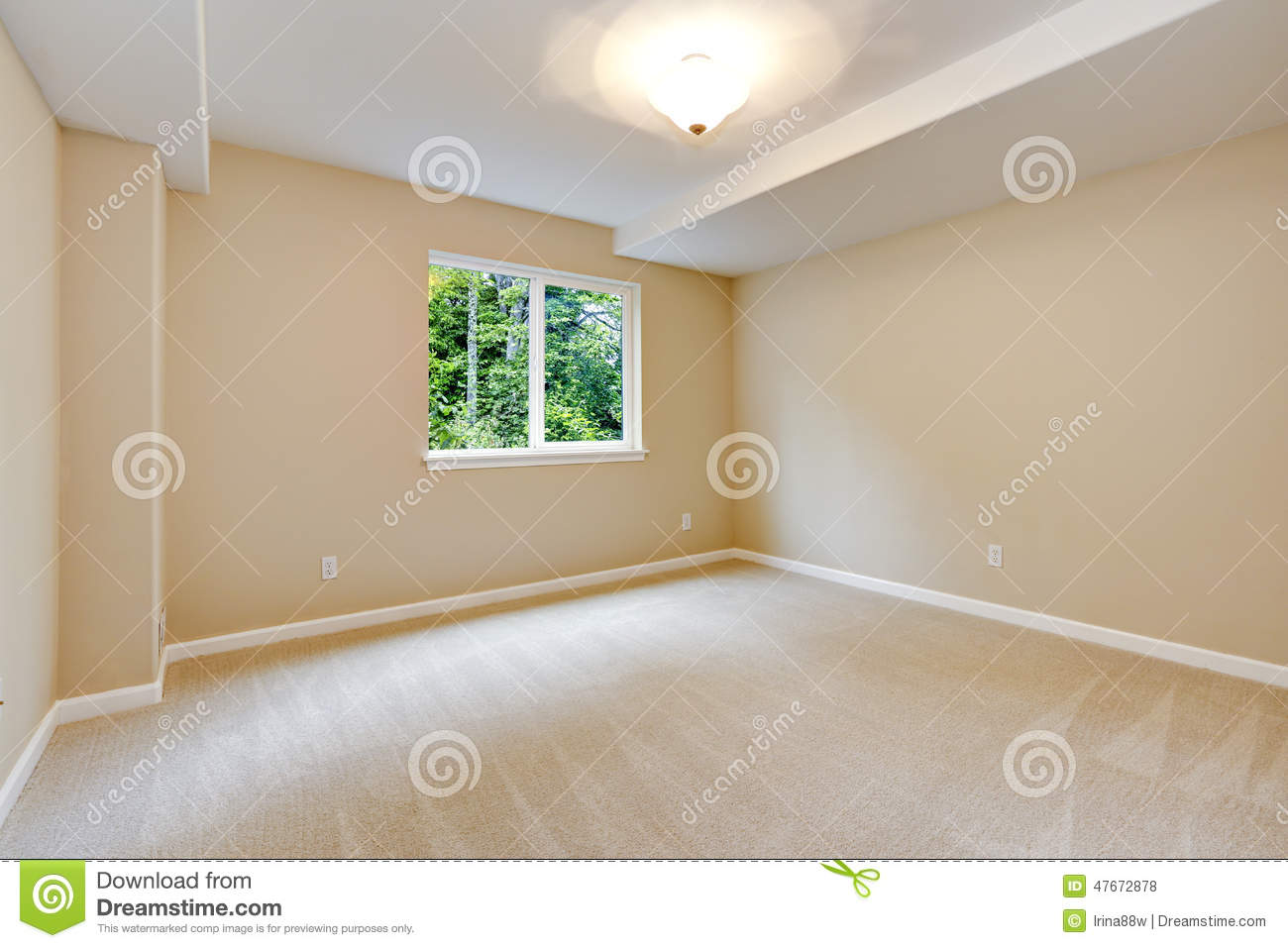 Bright Empty Bedroom In Light Ivory Tone Stock Photo Image Of Room