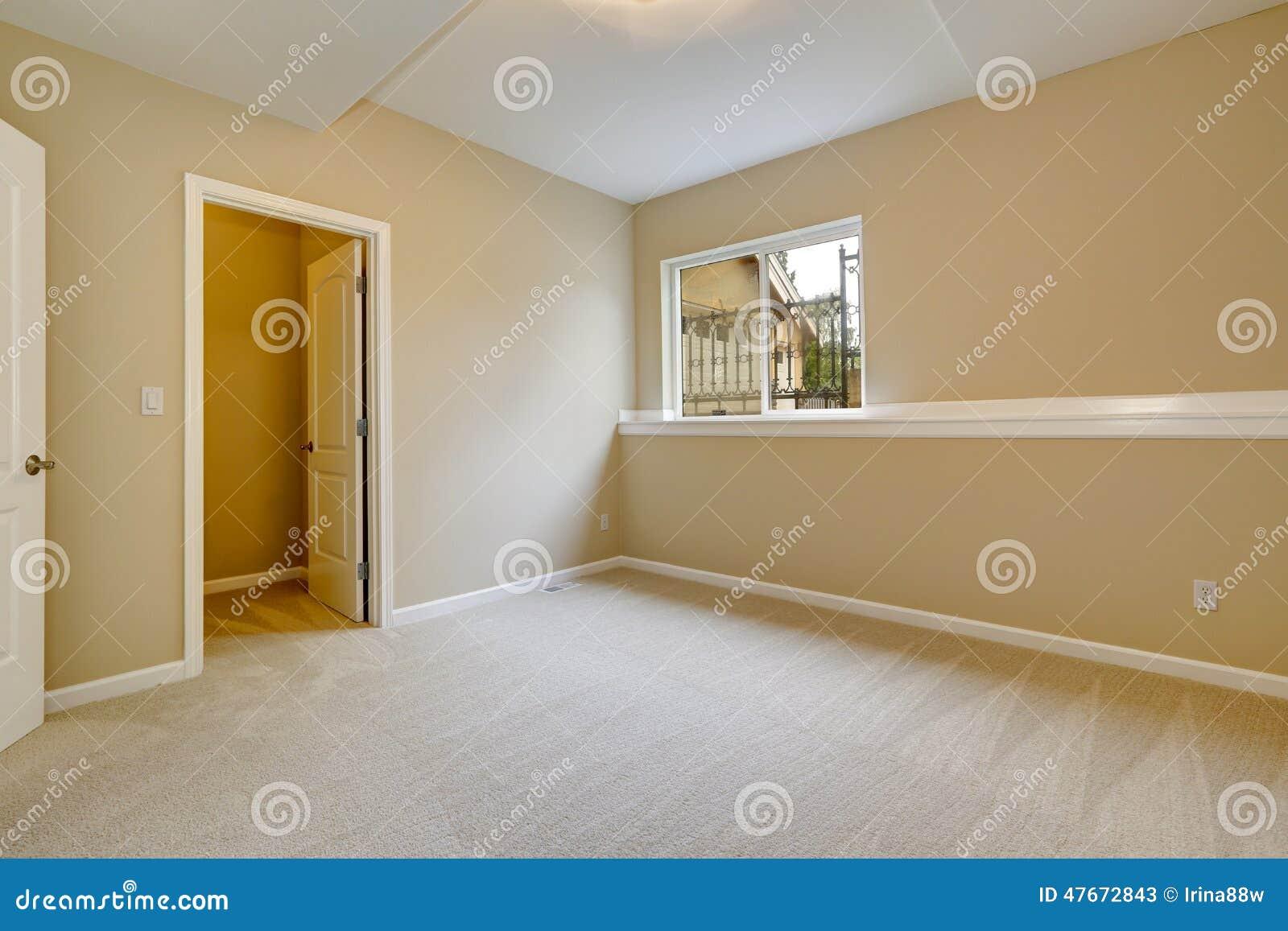 Bright Empty Bedroom In Light Ivory Tone Stock