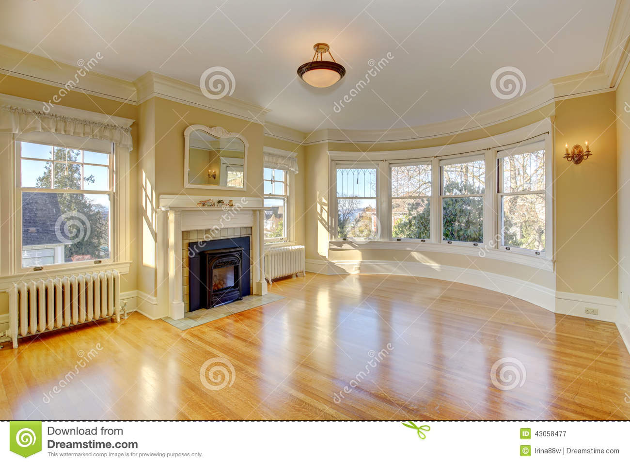 Bright Empty Living Room In Luxury House Stock Image