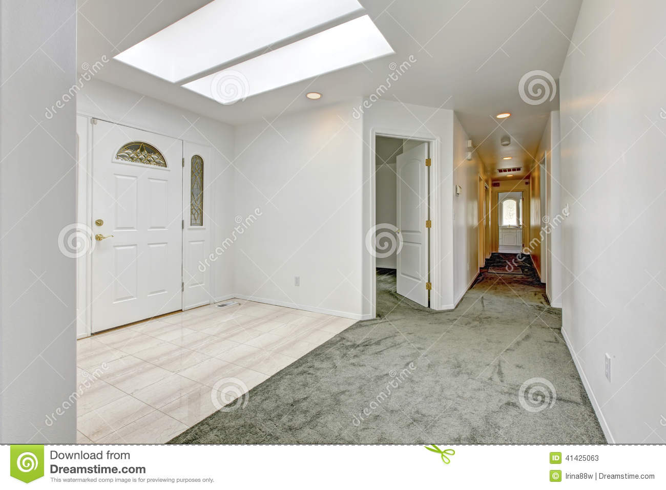 Bright Entrance Hallway With Skylight Stock Photo Image