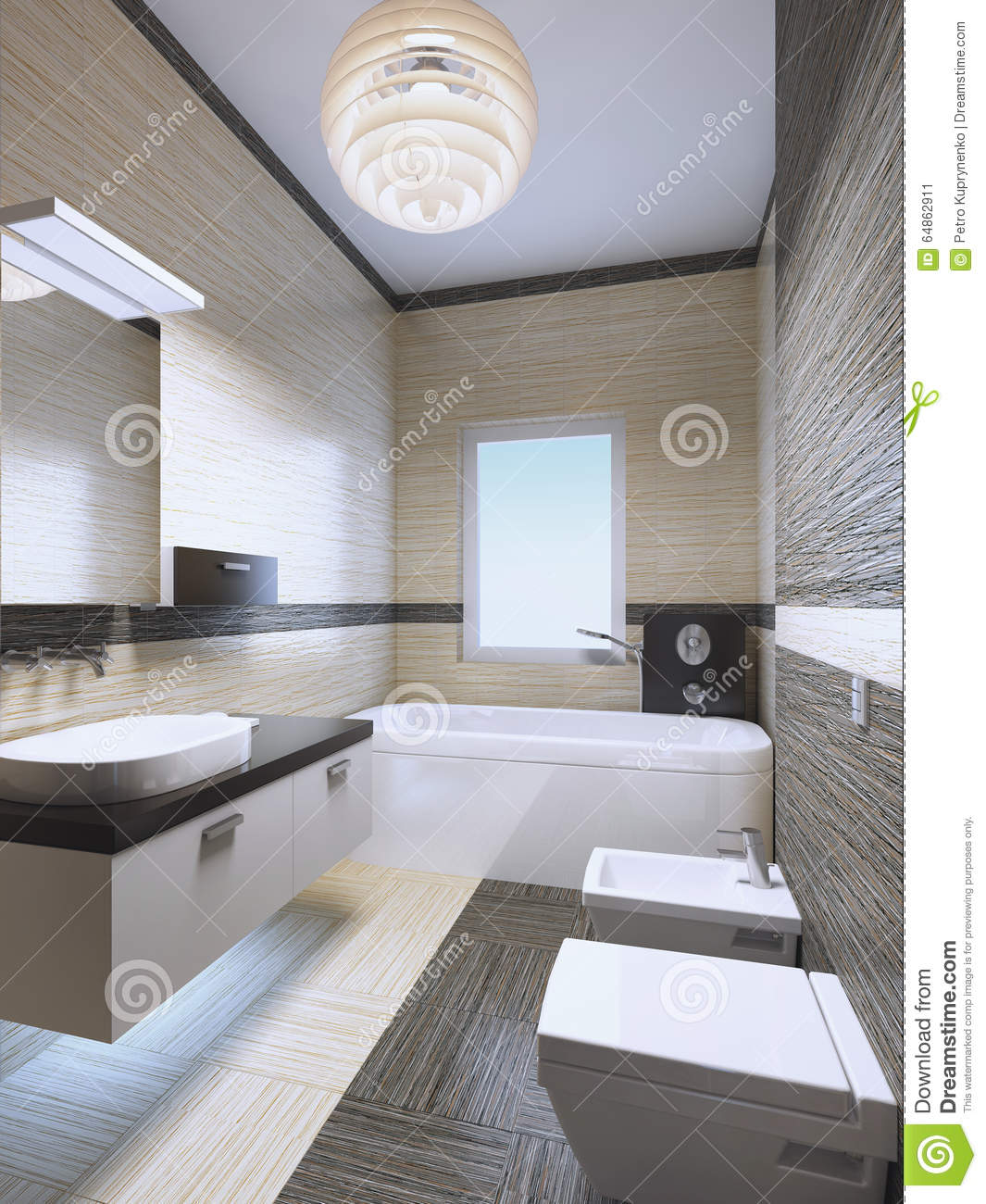 Bright Expensive Bathroom With Neon Lights Stock Photo